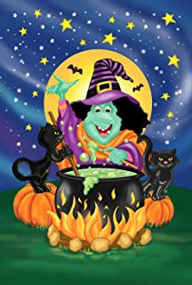 Toland Home Garden Witch's Brew 28 x 40 Inch Decorative Colorful Halloween Witch Cauldron Black Cat House Flag