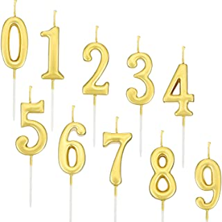 Yaomiao 10 Pieces Birthday Numeral Candles Cake Number 0 9 Gold Glitter
