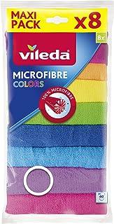 Vileda Colors Lavettes microfibres dépoussiérantes et dégraissantes - 8 pièces