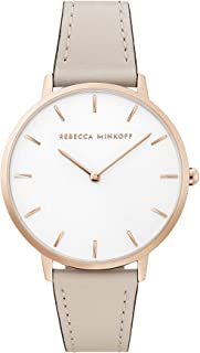 Women's Major Stainless Steel Quartz Watch with Leather Calfskin Strap, Putty, 16 (Model: 2200344)