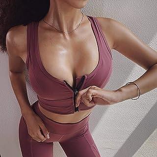 HOT Zipper Sports Bra for Women Yoga Crop Top Push Up Solid Underwear Bras Fitness Bras Athletic Vest Gym Shirt Sport Spor...