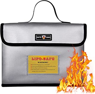 Large Fireproof Bag, with Bag Label Multifunctional Safety Explosion-Proof Zipper Bag for Lithium Battery,Waterproof and F...