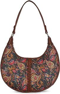 ZOUK 100% PeTA Approved Vegan Leather Paisley Fabric Print Hobo Bags For Women