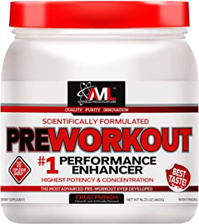 Advanced Molecular Labs Preworkout, Fruit Punch, 520 Grams - Train Harder, Train Longer - with 8g Citrulline Malate, 5g Creatine and 2.5g Betaine