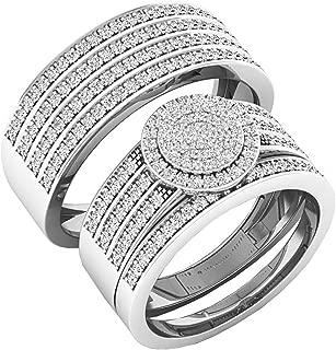 Dazzlingrock Collection 0.80 Carat (ctw) 10K Gold Round White Diamond Men & Women's Engagement Ring Trio Set 3/4 CT