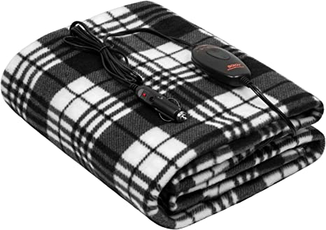 """Heated Blanket, Sojoy Electric Blanket Throw 40""""x60"""", 3 Fast Heating Levels,30'/45'/60' Min Auto Off, UL Certification, Overheating Protection, Fleece Heating Blanket (Black and White): image"""