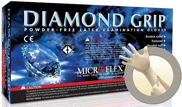 Microflex MF 300 L Diamond Grip Exam Gloves PF Latex Textured Fingers Large 100 Per Box 10 Box Per Case Pack Of 1000