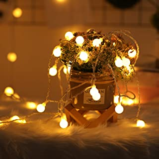 2 Pack 100 LED Globe String Lights Outdoor Battery Operated, 2 x 49 Ft Fairy String Lights Waterproof with Remote Control,...
