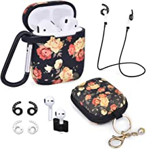 Airpods Case - Airspo 7 in 1 Airpods Accessories Set Compatible with Airpods 1 & 2 Protective Silicone Cover Floral Print Cute Case (Black+Rose)