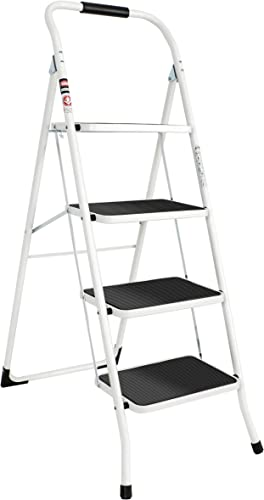 2021 EFINE 4 Step Ladder, Back Bending Handrail outlet online sale Design, High Grade Steel with Smooth Powder Coating, Sturdy and Lightwight, high quality Holding up to 330lbs. outlet sale