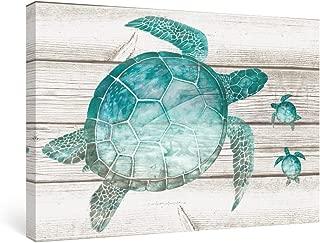 SUMGAR Wall Art Bathroom Blue Ocean Pictures Costal Beach Canvas Paitings Teal Sea Turtle Wall Decor Turquoise Framed Artwork Gray Grey Prints Marine Life Bedroom Nursery Gifts,16x24 inch