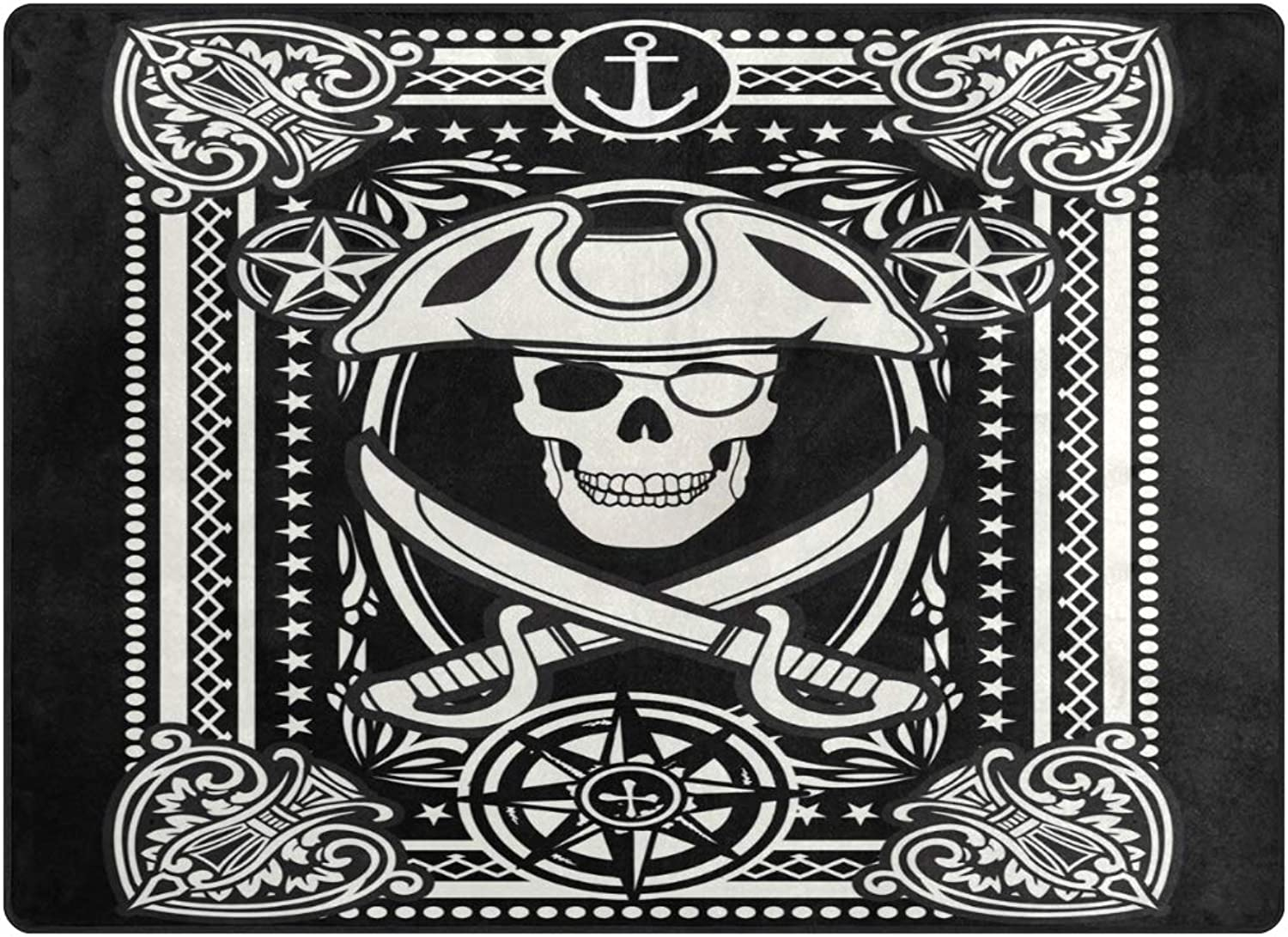 SUABO Halloween Area Rug 80 x 58 inches Non-Slip Floor Mat with Playing Card Printed Doormats
