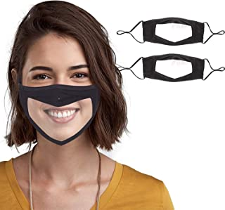 Reusable Cotton Cover Protection Bandanas with Clear Window and Adjustable Ear Loops for Women and Men, Black - Pack of 2