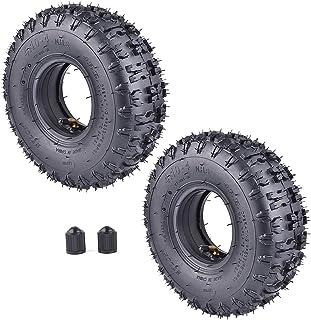 RUTU - Juego de 2 cámaras de aire y neumáticos de repuesto para jardín, motocultor nieve, ventilador cortacésped, camión, carretilla de camino, camión, camión, camión, canasta y cesta ATV para niños