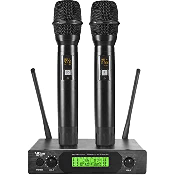 VeGue UHF Wireless Microphone, Professional Dual Channel Handheld Mics, Metal, 200 ft ,Ideal for Home Karaoke, Party, Meeting