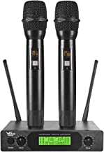 VeGue UHF Wireless Microphone, Professional Dual Channel Handheld Mics, Metal, 200 ft..