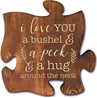KU-DaYi I Love You Puzzle Piece Sign 10 x 10 Inch Solid Pine Wood Quote Inspirational Motivational Quotes Wood Wall Art Rustic Farmhouse Décor Gift Idea