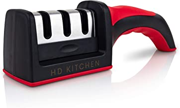 Knife Sharpener by HD Kitchen, 3 stage Chef preferred, Professional Knife Sharpening and Honing Tool; Best in Repairing an...