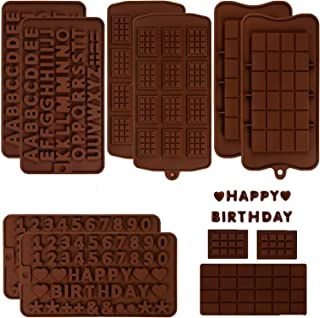 BakingWorld Chocolate Mold - 8 Pcs - Chocolate Bar and Number Letter Silicone Candy Molds for Pralines Caramels Ganache an...