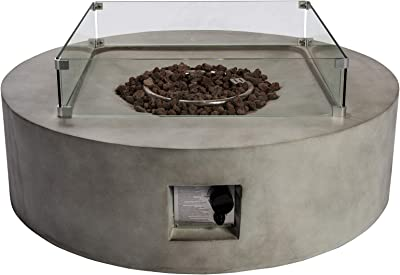 """Peaktop HF42408AA Round 50,000 BTU Concrete Look Propane Gas Fire Pit Table for Outdoor Patio Garden Backyard Decking with PVC Cover, Spark Screen, Lava Rock, 42"""" x 42"""", Light Gray"""