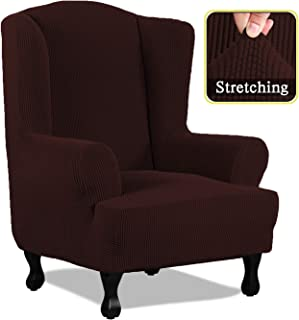 SimpleHome 1 Piece Spandex Elastic Armchair Wingback Cover Fabric Back Furniture Protector Stretch Sofa Slipcovers for Living Room (Wing Chair, Brown)