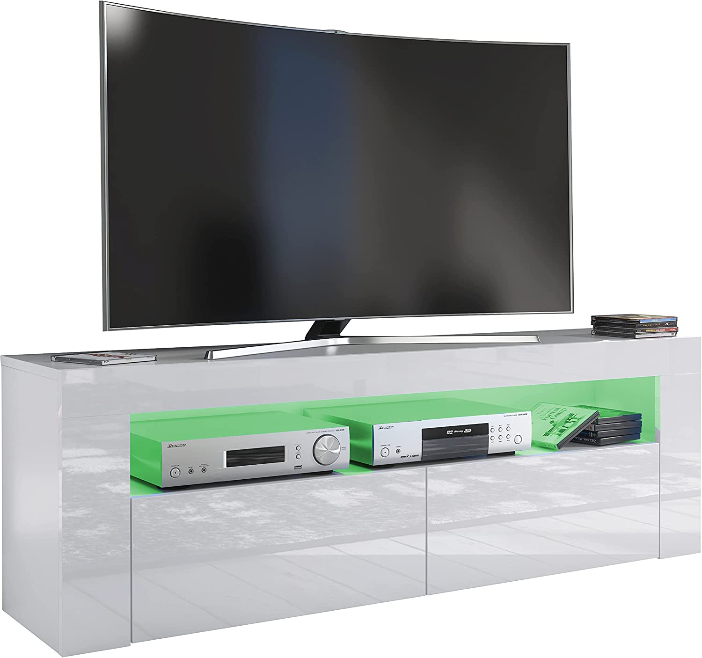 Furneo White TV Stand 10cm Unit Cabinet Matt & High Gloss Clifton10 Blue  LED Lights