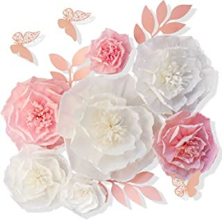13 Pieces 3D Paper Flowers Pink White with Trees 10