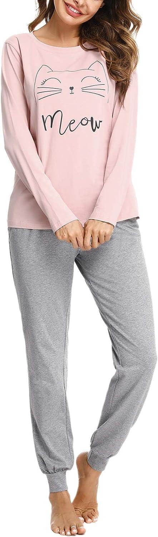 Sykooria Conjunto de Pijama para Mujer Algodón de Manga Larga Top y Pantalones Ropa de Dormir Suave para Mujer Pjs Lounge Wear