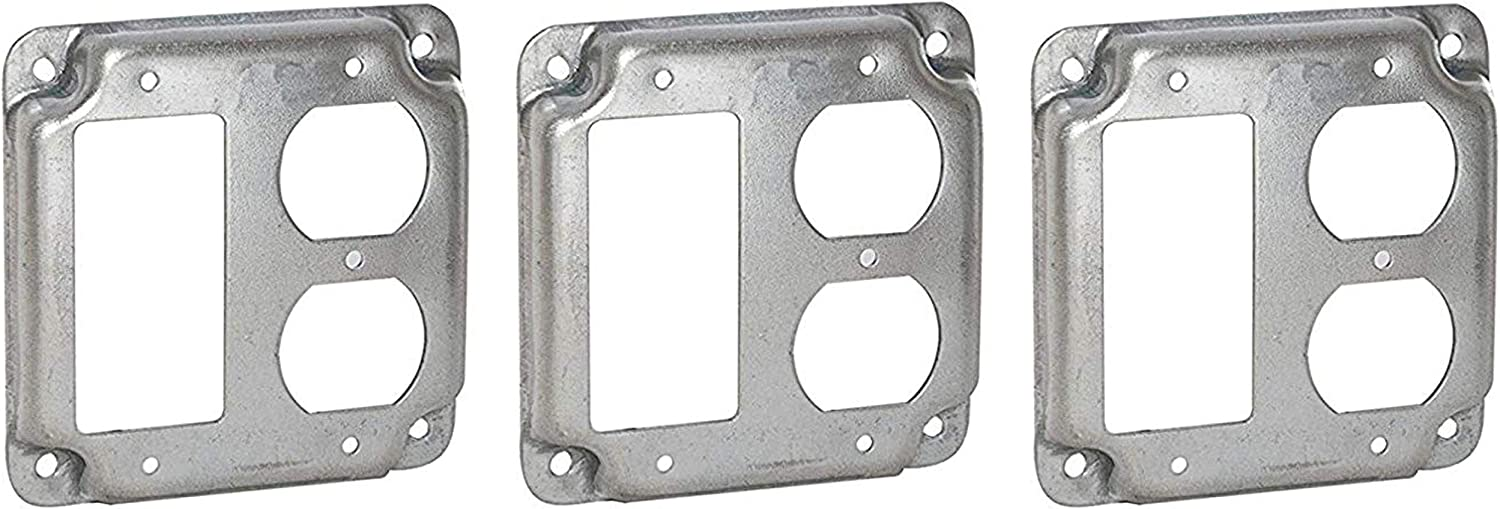 Hubbell-Raco 915C 1 GFCI and 1 Duplex Receptacle 4-Inch Square Exposed Work Cover
