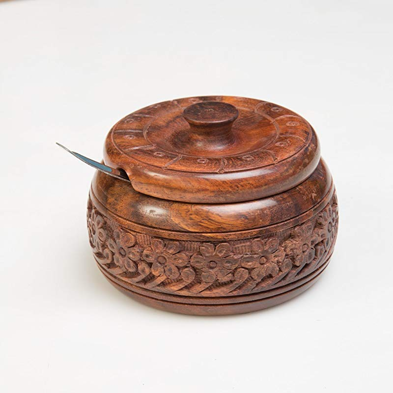 Rusticity Wooden Sugar Bowl With Lid And Spoon Steel Handmade 4x4in