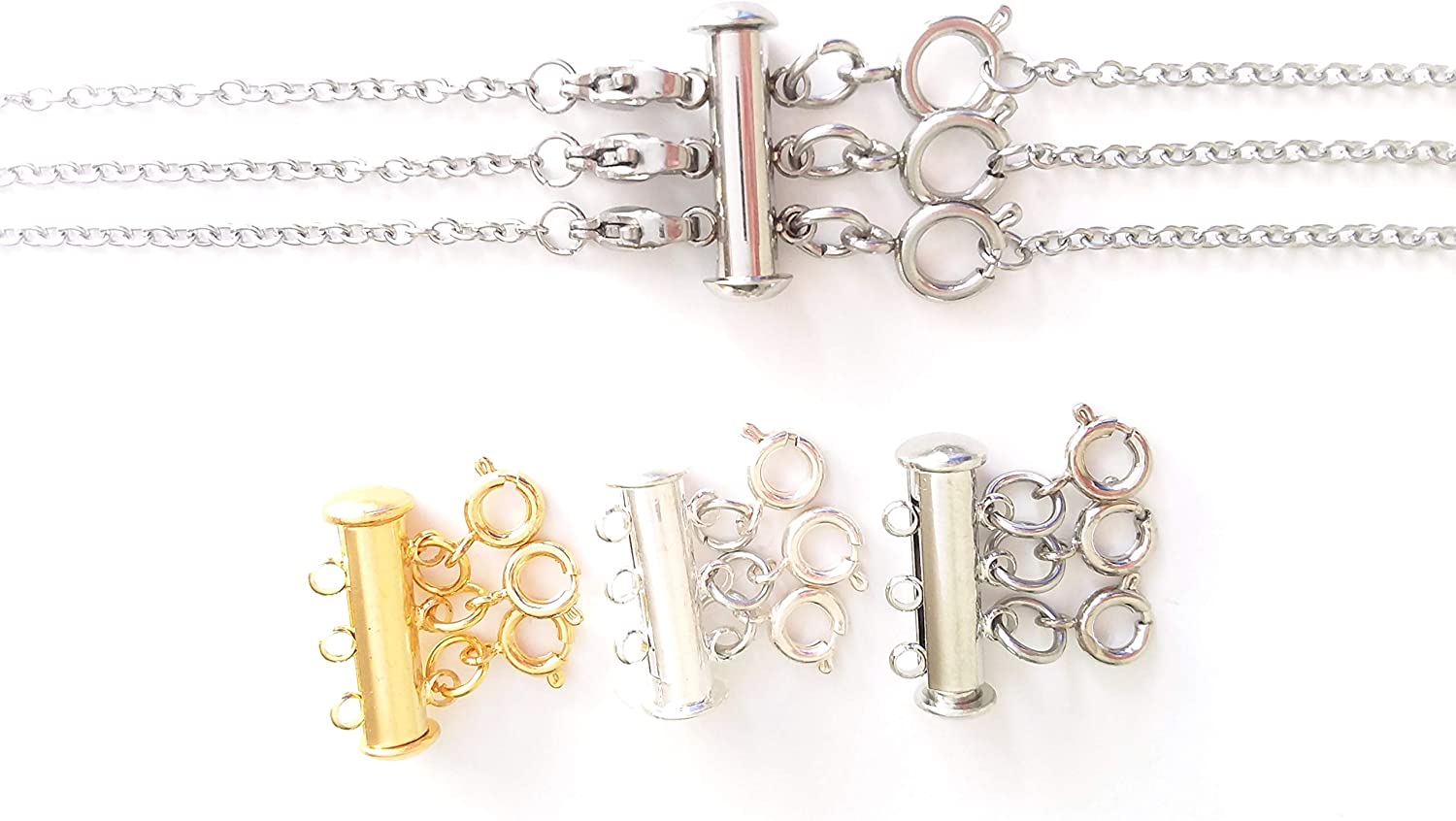 Layered Necklace Spacer Clasp | Detangles & Separates Multiple Necklaces | Magnet or Slide Lock Clasp by Seashell Crafter (Gold Plated, Attach 3 Necklaces)