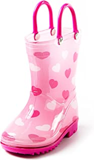 Toddler and Kids Rain Boots with Easy On Handles - Boys and Girls Colors and Designs
