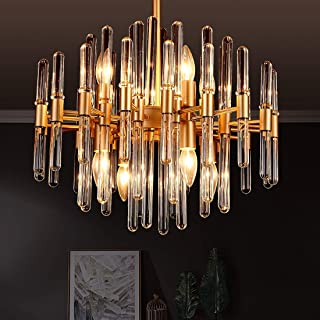 TZOE Modern Chandeliers,Crystal Chandelier,8 Light Round Pendant Light,Width 19 inch,Golden Metal + Clear Glass,Adjustable Height,UL Listed