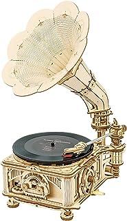 Robotime 3D Puzzle Tourne-Disque Vinyle en Bois Modèle 3 Vitesses ( 33/45/78) Gramophone à Platine Vinyle avec Kits D'arti...