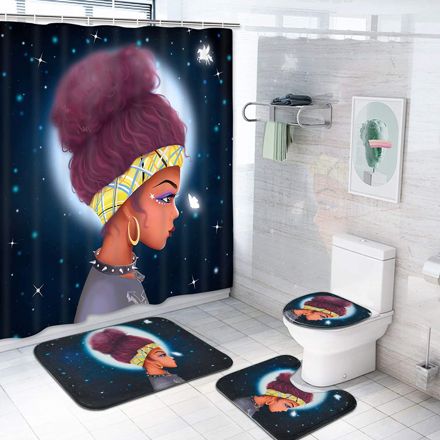 Long Beach Mall Basmaor 4 Pcs Black Girl Shower Curtain Excellent with Non-Slip Rug Set T