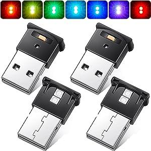4 Pieces Mini USB LED Light, RGB Car LED Interior Lighting DC 5V Smart USB LED Atmosphere Light, Laptop Keyboard Light Home Office Decoration Night Lamp, Adjustable Brightness, 8 Colors
