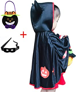 Boy Girl Halloween Cosplay Costume For Kid Little Devil Cosplay Cloak with Hat and Halloween Trick-or-Treat Candy Bag and Halloween Eye Mask