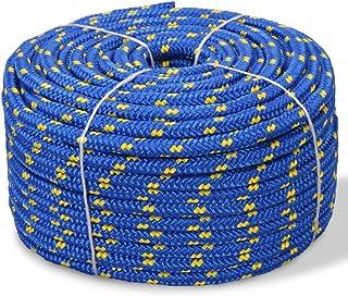Festnight Bootsseil Polypropylen 6 mm 100 m Blau