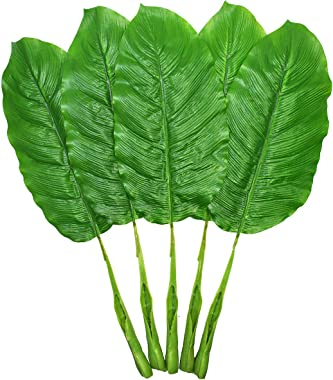 Warmter Fake Leaves 25'' Large Artificial Palm Leaves Banana Leaves Tropical Plant Green Single Leaf Palm Fronds Hawa