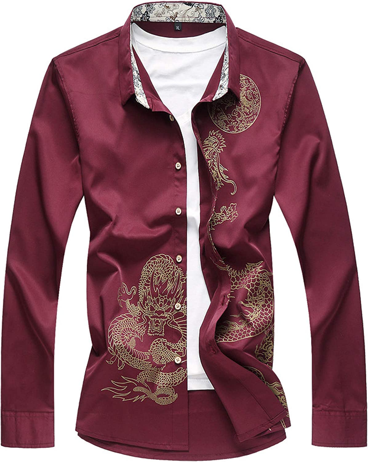 Men's Long-Sleeved Shirt Jacksonville Mall Personalized Streetwe Slim Printing Fit quality assurance