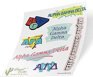 Alpha Gamma Delta 90's Themed Sticker Sheet Decal Laptop Water Bottle Car Alpha Gam (Full Sheet - 90's)