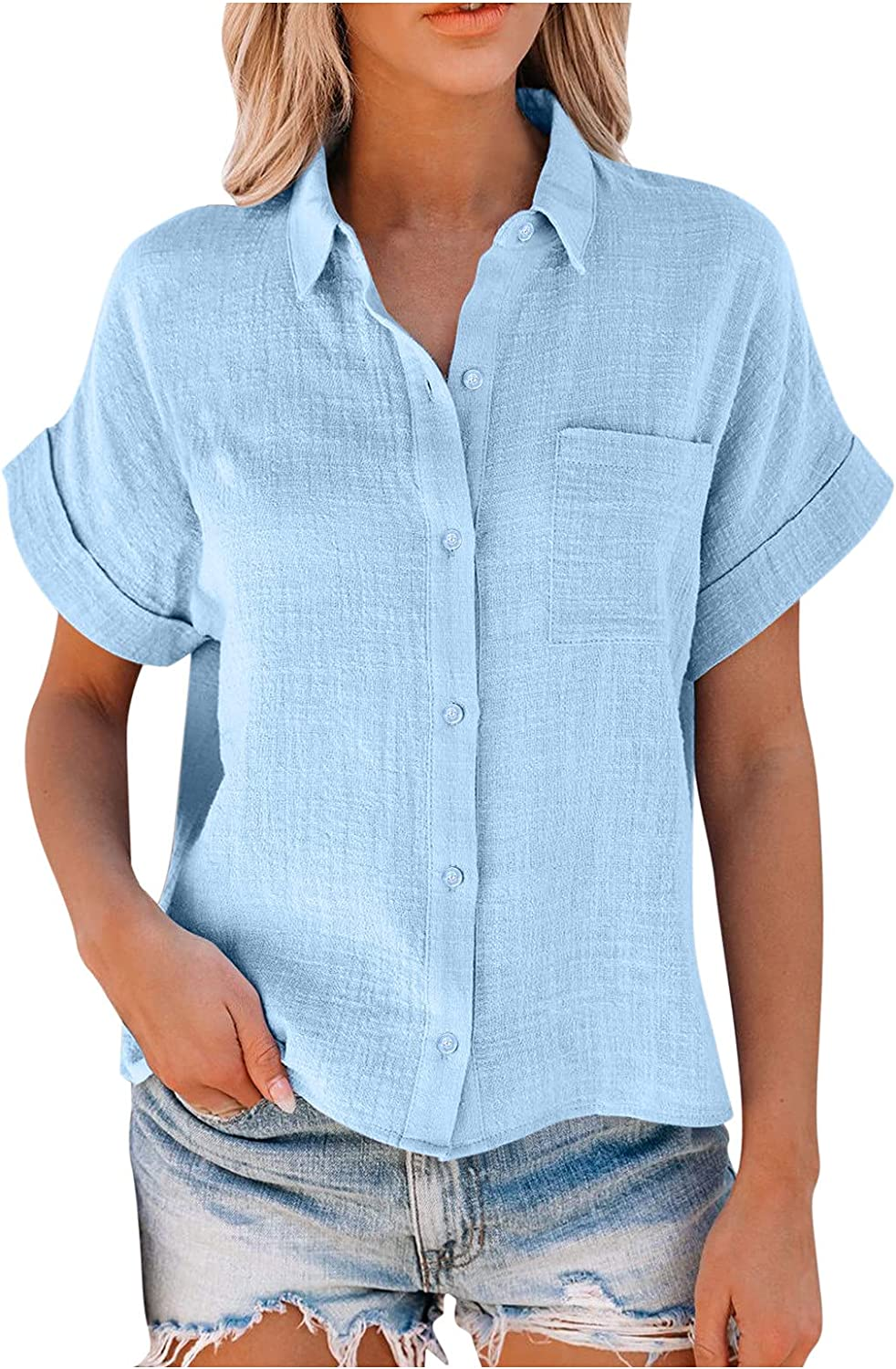 Womens Blouses Summer Casual Shirts Button Down Split V Neckline Short Sleeve Loose Tunic Tops