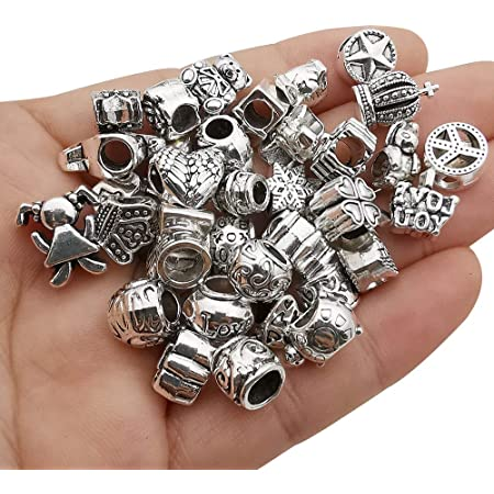 55pcs Assorted Alloy European Large Hole Beads Metal Spacer Charms Bead Assortments for DIY Crafts Bracelets Necklaces Jewelry Making M190