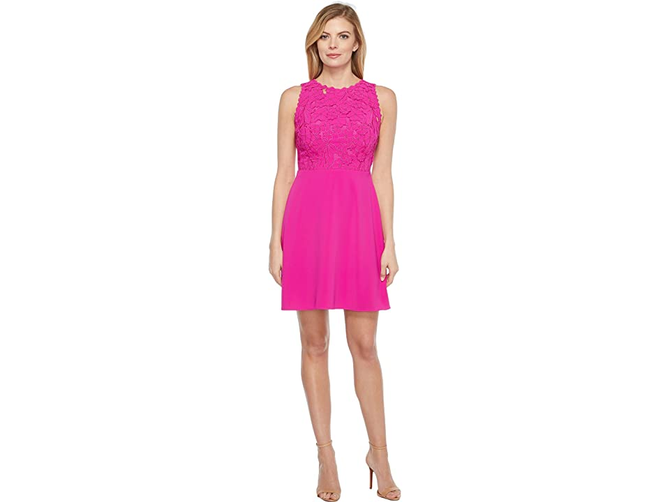 Laundry by Shelli Segal Embroidered Mixed Fabric A-Line Sheath Dress (Electric Pink) Women