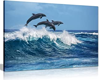 Dolphins Jumping Over Blue Waves Ocean Wildlife Canvas Wall Art Picture Print (30x20in)