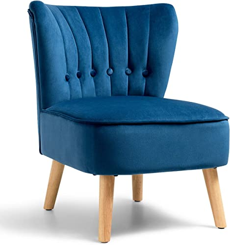 popular Giantex Modern Velvet online sale Accent Chair, Small Upholstered Leisure Sofa Chair w/Wood Legs, Thickly Padded and Button Tufted, Armless Wingback Club Chairs for Living Room Bedroom Furniture wholesale (1, Blue) sale