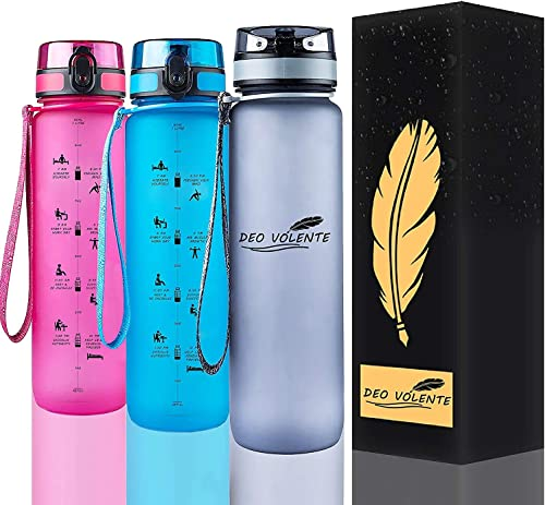DEO VOLENTE 1Litre water bottle with time marker,BPA Free sport water bottle,Leak Proof Flip Top Lid drink bottle wit...