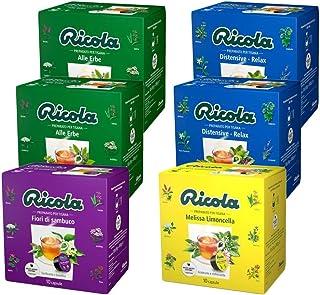 RICOLA Variety Pack Dégustation 60 Capsules Solubles de Tisanes Ricola, 6 Paquets de 10 Capsules Auto-Protégées Compatible...