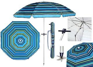 SYM Pincho Sombrilla Playa 2m Aluminio UPF+50 99% UV+ Espiral con Punta de Aluminio Reforzado 16 Varillas-antitorsion' (Azul a Rayas)