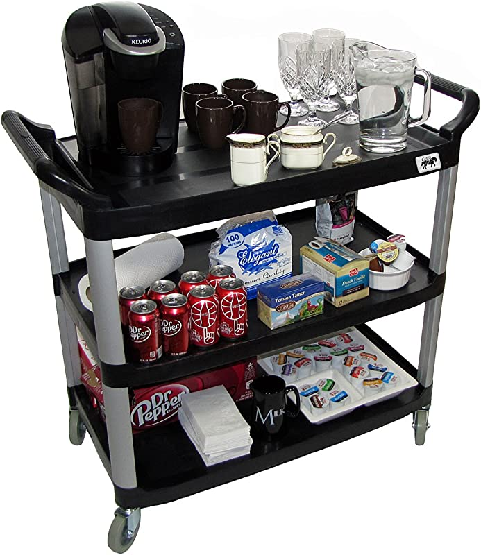 Crayata Serving And Bus Cart Kitchen Food Service Utility Cart 3 Tier Heavy Duty Plastic Beverage And Coffee Transport Cart For Restaurants 400 Pound Capacity Black